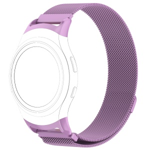 Magnetic Milanese Loop Stainless Steel Woven Replacement Wrist Watch Band for Samsung Gear Fit2 R360 - Purple