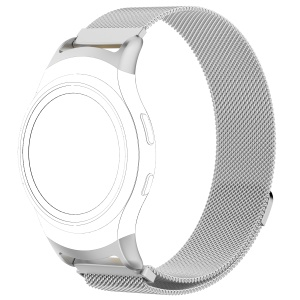 Magnetic Milanese Loop Stainless Steel Woven Watch Wrist Band for Samsung Gear Fit2 R360 - Silver Color