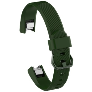 Adjustable TPU + TPE Watch Band with Metal Buckle, Length: 8.5 + 9cm for Fitbit Alta HR - Army Green