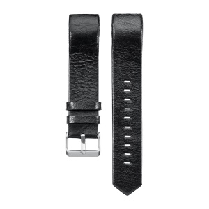 22mm Genuine Leather Watch Band for Fitbit Charge 2 - Black