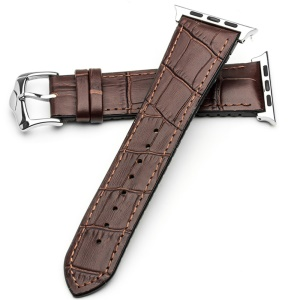 QIALINO Top-layer Cowhide Leather Watch Band with Pin Buckle for Apple Watch Series 5 4 40mm / Series 3/2/1 38mm - Brown