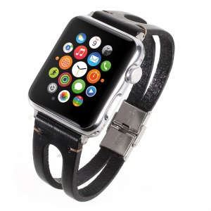 Cowhide Leather Watch Band Replacement for Apple Watch Series 4 40mm, Series 3 / 2 / 1 38mm - Black