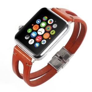 Remplacement De Bracelet En Cuir De Vache Pour Apple Watch Series 3/2/1 38mm - Marron