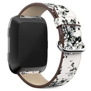 Peony Pattern Genuine Leather Watch Wrist Band, Length: 122 + 83mm for Fitbit Versa - White Background White Peony