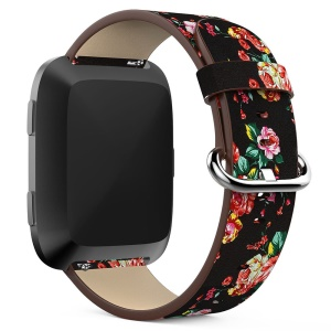 Peony Pattern Genuine Leather Adjustable Watch Wrist Band Replacement, Length: 122 + 83mm for Fitbit Versa - Black Background Red Peony