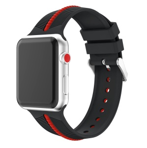 Two-tone Twill Texture Silicone Watch Strap for Apple Watch Series 3/2/1 42mm - Red / Black