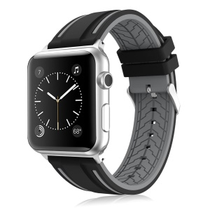 Contrast Color Silicone Watch Band Replacement for Apple Watch Series 4 40mm / Series 3/2/1 38mm - Black / Grey
