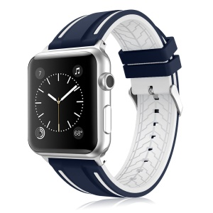 Correa De Reloj De Silicona De Color De Contraste Para Apple Watch Series 3 Series 2 Series 1 38mm - Azul / Blanco