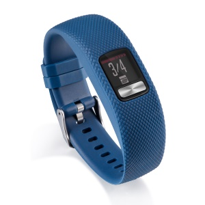 Soft Lozenge Texture TPE+TPU Silicone Watch Sport Band for Garmin Vivofit 4 - Size: S / Dark Blue