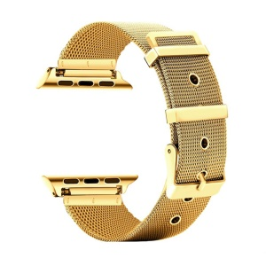 Classic Buckle Milanese Stainless Steel Watch Strap Replacement for Apple Watch Series 4 40mm/3/2/1 38mm - Gold