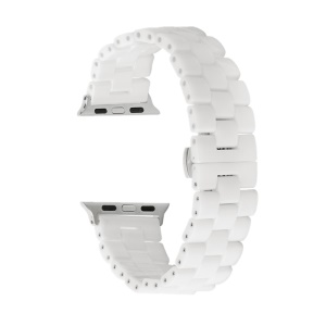 Three Beads Butterfly Buckle Ceramic Watch Strap for Apple Watch Series 4 40mm/3/2/1 38mm - White