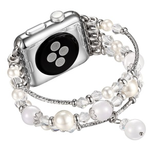 Agate Beads Pearl Watch Bracelet Band for Apple Watch Series 5 4 40mm/3/2/1 38mm - White