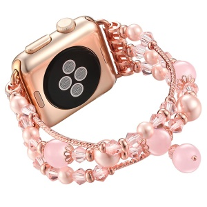 Agate Beads Pearl Watch Bracelet Strap Replacement for Apple Watch Series 4 40mm/3/2/1 38mm - Pink