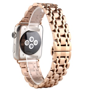 Classic Seven Beads Stainless Steel Wristwatch Band for Apple Watch Series 4 44mm/3/2/1 42mm - Rose Gold
