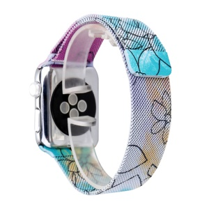 Musterdruck Metall Milanese Uhrenarmband Für Apple Watch Serie 3 / 2 / 1 42mm - Lotus-Muster