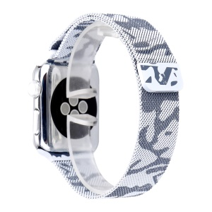 For Apple Watch Series 3 / 2 / 1 38mm Chic Pattern Printing Magnetic Milanese Wrist Watch Strap - Camouflage / Light Grey