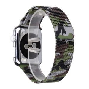 For Apple Watch Series 3 / 2 / 1 38mm Pattern Printing Magnetic Milanese Wrist Watch Band Replacement - Camouflage / Army Green
