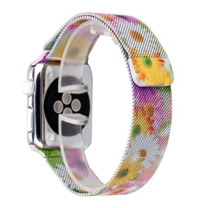 For Apple Watch Series 4 40mm/3/2/1 38mm Pattern Printing Magnetic Replacement Milanese Wrist Watch Band - Sunflower Pattern