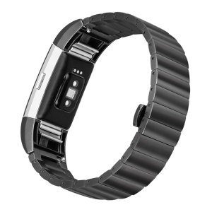 Classic Metal Watch Band with Butterfly Buckle for Fitbit Charge 2 - Black