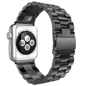 Luxury Three Beads Stainless Steel Watch Strap for Apple Watch Series 5 4 44mm, Series 3 / 2 / 1 42mm - Black