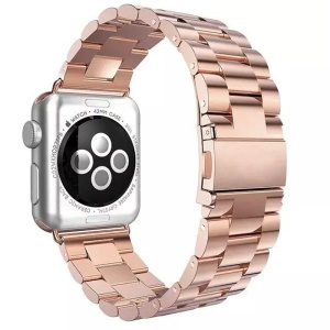 Luxury Three Beads Stainless Steel Watch Strap Replacement with Folding Clasp for Apple Watch Series 5 4 44mm, Series 3 / 2 / 1 42mm - Rose Gold