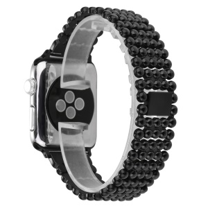 5 Beads Stainless Steel Watch Band Strap for Apple Watch Series 3/2/1 38mm - Black