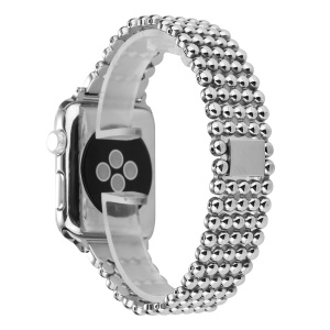 5 Beads Stainless Steel Watch Strap Replacement for Apple Watch Series 3/2/1 38mm - Silver