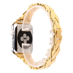 Rhombus Design Stainless Steel Watch Band Replacement for Apple Watch Series 4 40mm / Series 3 2 1 38mm - Gold