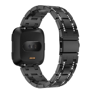 H-shape Rhinestone Decor Alloy Watch Band for Fitbit Versa - Black