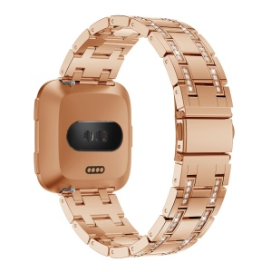 H-shape Rhinestone Decor Alloy Watch Band Replacement for Fitbit Versa - Rose Gold