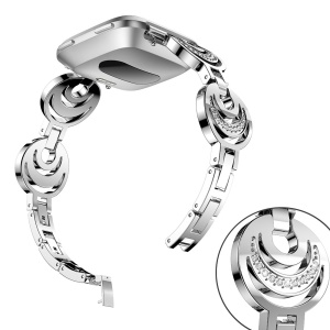 Sparkling Diamond Alloy Watch Bracelet with Lugs Adapters for Fitbit Versa - Silver