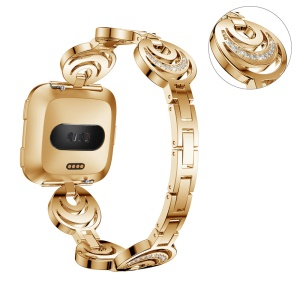 Sparkling Diamond Alloy Watchband Replacement with Lugs Adapters for Fitbit Versa - Gold