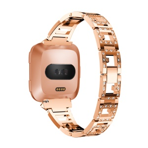 Stud Link Rhinestone Decor Alloy Watch Band Replacement for Fitbit Versa - Rose Gold