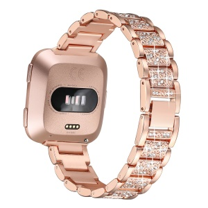 Rhinestone Decor Metal Watch Band for Fitbit Versa - Rose Gold
