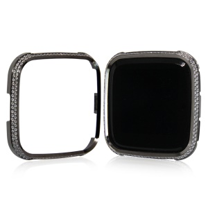 Double Rows Rhinestone Decoration Aluminium Alloy Frame Protective Case for Fitbit Versa - Black