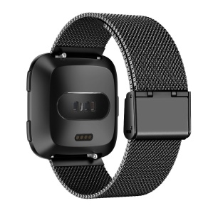 Luxury Milanese Stainless Steel Watch Band Part Replacement for Fitbit Versa - Black