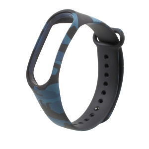 Camouflage Soft Silicone Watch Strap Band for Xiaomi Mi Band 3 - Blue