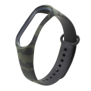 Camouflage Soft Silicone Watch Band Replacement for Xiaomi Mi Band 3 - Army Green