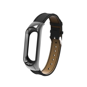 Genuine Leather Watch Band for Xiaomi Mi Band 3 - Black