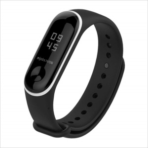 Two-tone Soft Silicone Watch Strap Band for Xiaomi Mi Band 3 - Black