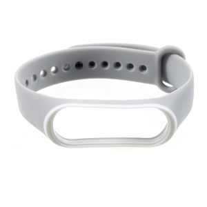 Bi-color Soft Silicone Wrist Band for Xiaomi Mi Band 3 - White / Grey