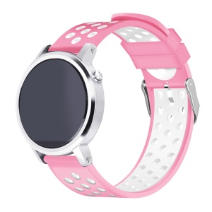 Two-tone Flexible Silicone Watch Band Strap for Samsung Gear S3 Frontier / S3 Classic - Pink / White