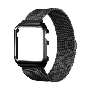 Milanese Stainless Steel Watch Strap + Protective Anti-drop Case for Apple Watch Series 3 / 2 / 1 42mm - Black