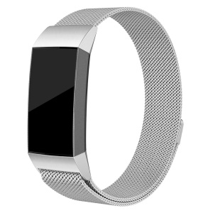 Luxury Milanese Stainless Steel Magnetic Watch Band for Fitbit Charge 3 - Size: L / Silver