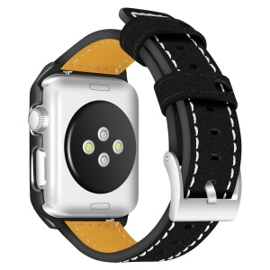 Genuine Leather Stainless Steel Buckle Watch Band for Apple Watch Series 4 40mm/3/2/1 38mm - Black