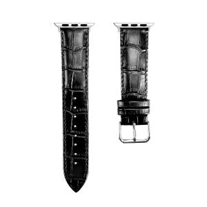 Genuine Leather Metal Buckle Watch Band for Apple Watch Series 4 44mm/3/2/1 42mm - Black