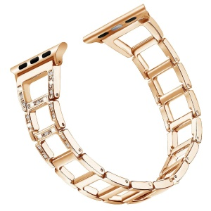 Zinc Alloy Watch Strap for Apple Watch Series 4 40mm / Series 3 2 1 38mm [Hollow Ladder-shaped] [Rhinestone Decor] - Rose Gold