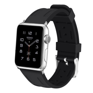 Soft Silicone Wrist Strap for Apple Watch Series 4 40mm / Series 3 2 1 38mm - Black