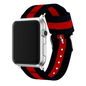 Metal Buckle Woven Nylon Watch Band for Apple Watch Series 4 40mm/3/2/1 38mm - Black / Red