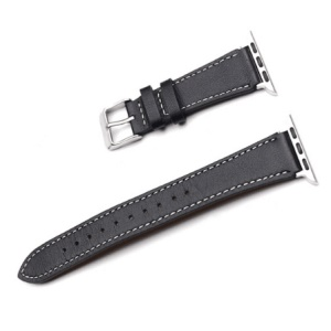 For Apple Watch Series 5 4 40mm, Series 3 / 2 / 1 38mm Genuine Leather Smart Watch Strap - Black